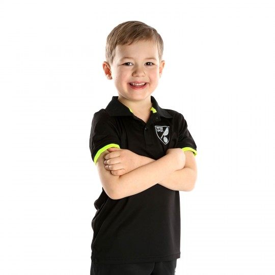 Kids Reflective Crest Polo Black
