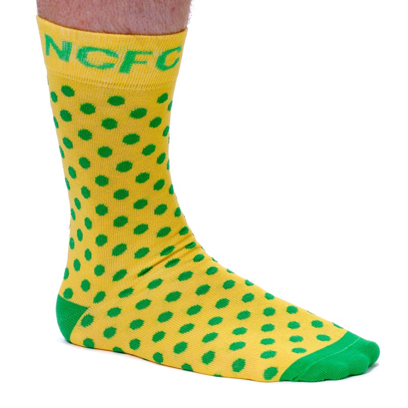 Small Green Spot Dress Socks - Yellow