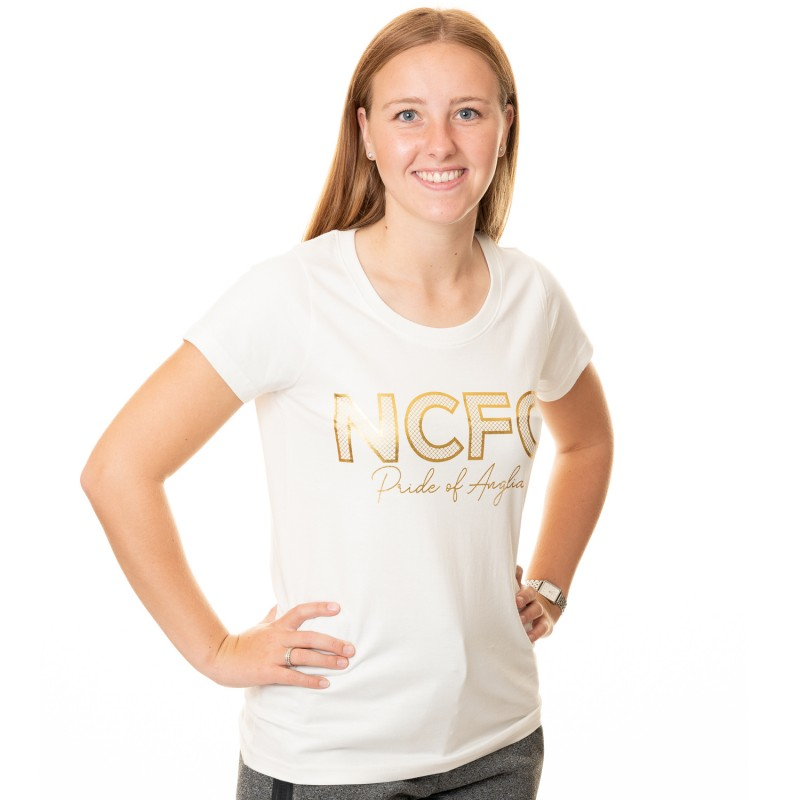 Ladies White Gold Foil T-Shirt
