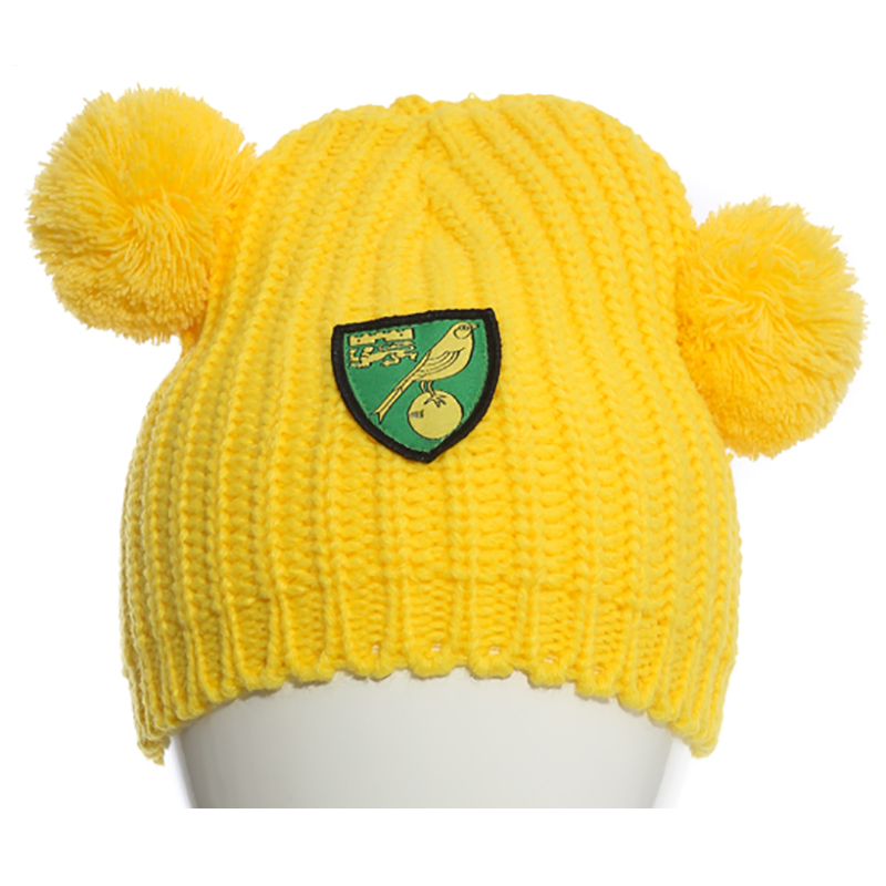 Kids Pom Pom Beanie Yellow