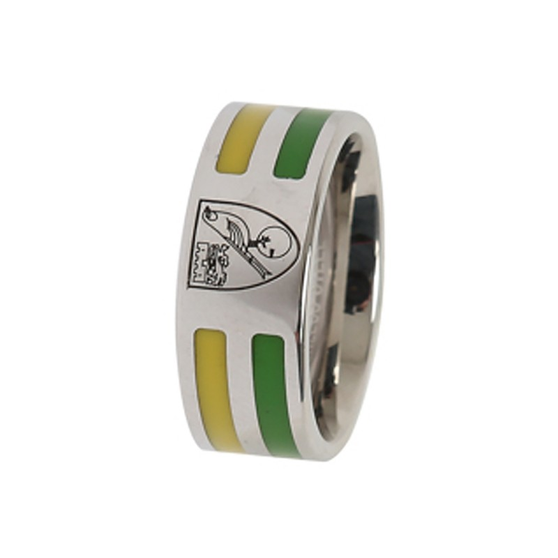 Yellow and Green Inlay Crest Ring